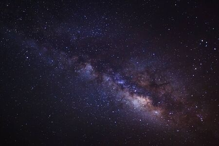 vulpecula: The Panorama Milky Way ,Long exposure photograph,with grain Stock Photo