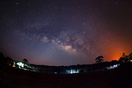 vulpecula: Milky way at Phu Hin Rong Kla National Park, Long exposure photograph, with grain Stock Photo