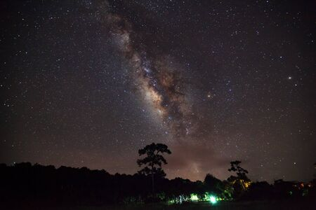 vulpecula: Milky Way and Silhouette of Tree with cloud , Long exposure photograph,with grain Stock Photo