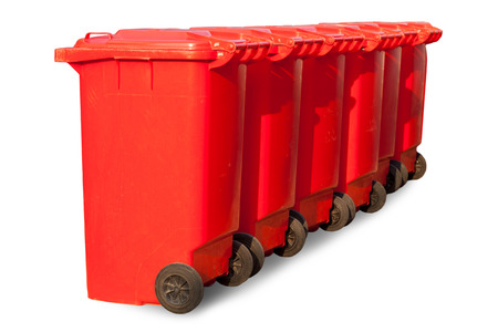 big bin: Red large trash cans (garbage bins) on white background Stock Photo