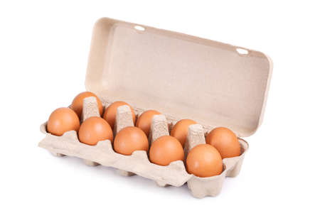 ten: Ten brown eggs in a carton package