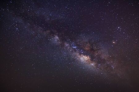 outerspace: Milky way night scene,Long exposure photograph, with grain Stock Photo