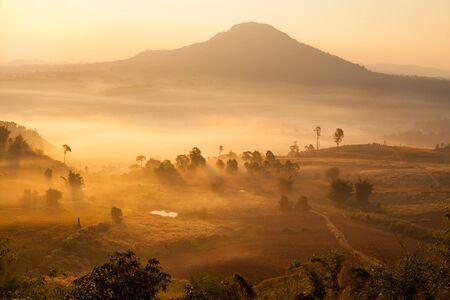 ngo: Misty morning sunrise in Khao Takhian Ngo View Point at Khao-kho Phetchabun,Thailand