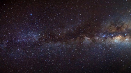 beautiful milkyway on a night sky, Long exposure photograph, with grain