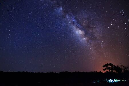 outerspace: milky way and fireball, Long exposure photograph,with grain Stock Photo