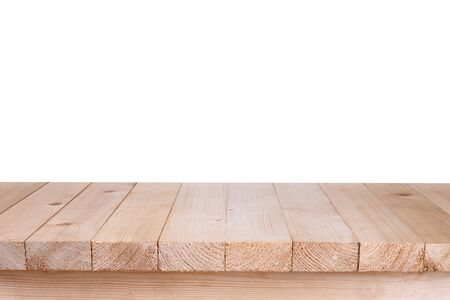 table top: Wood table top on white background Stock Photo