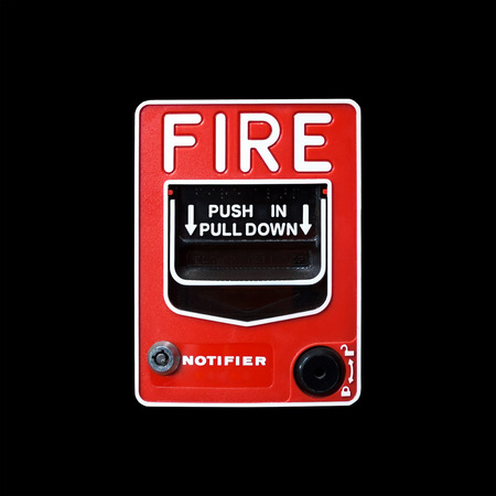 Fire alarm switch on black background