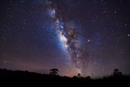vulpecula: Milky Way and Silhouette of Tree with cloud. Stock Photo
