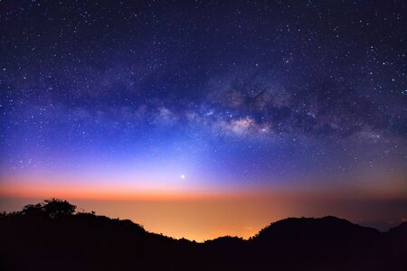 vulpecula: Milky Way Galaxy at Doi Luang Chiang Dao is a 2,225 m. high mountain in Chiang Mai Province, Thailand..Long exposure photograph.With grain