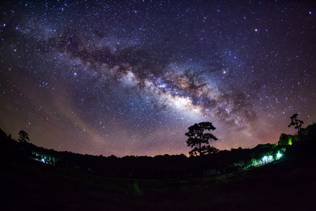 vulpecula: Panorama Milky Way Galaxy.Long exposure photograph.With grain