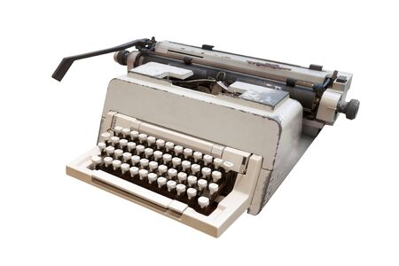manual test equipment: Old thai typewriter isolate on white background?
