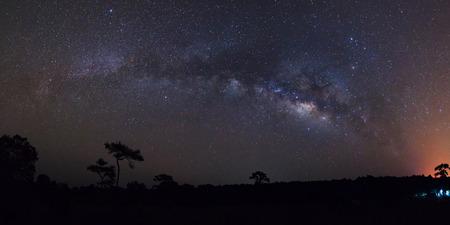 vulpecula: Panorama milky way galaxy at Phu Hin Rong Kla National Park,Phitsanulok Thailand.Long exposure photograph.with grain