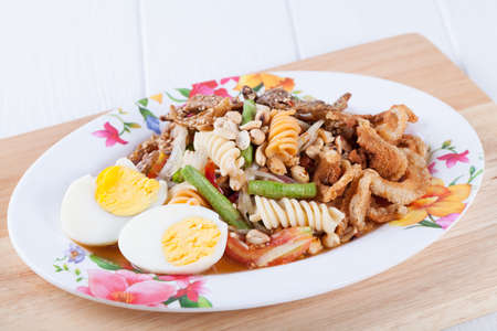 somtum: Somtum, Tum Khorat, Mix papaya salad delicious food in thailand Stock Photo