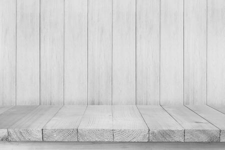 Wood table top on white wood background