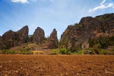 sugar land: plowed land for sugar cane plantation at banmung, noen maprang, Phitsanulok. Stock Photo