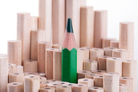 sharpened: One sharpened green pencil among many ones Stock Photo