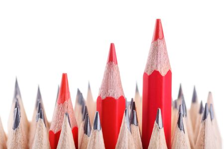 sharpened: three sharpened red pencil among many ones