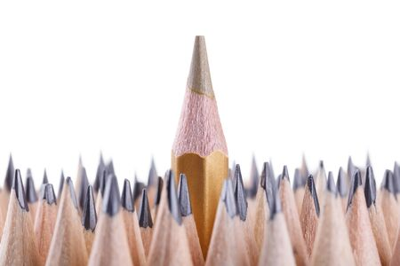 sharpened: One sharpened gold pencil among many ones Stock Photo