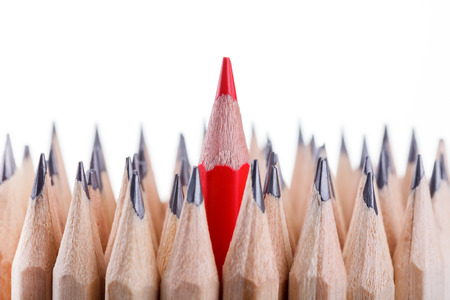 sharpened: One sharpened red pencil among many ones
