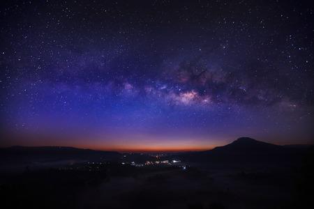 Milky way galaxy at Khao Takhian Ngo View Point at Khao-kho Phetchabun,Thailand, Long exposure photograph