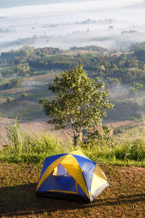 Dome tent camping at Khao Takhian Ngo View Point at Khao-kho Phetchabun,Thailand Stock Photo