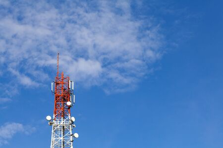 communication tower: Communication tower and blue sky with space Stock Photo