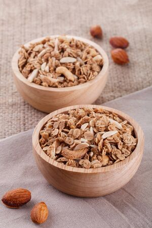 granola in wood bowl