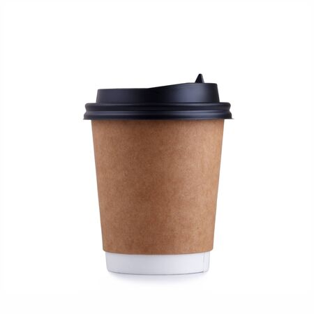 takeout: Take-out coffee with cup holder isolated on a white background