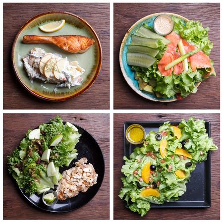 comidas saludables: Including healthy foods salad set. Smoke Salmon salad,vegetables Salad,Citrus Salad with pomegranate seeds