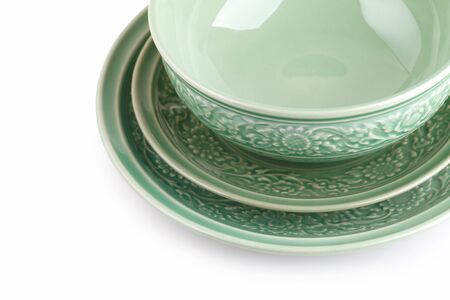 crazing: Empty caramic celadon dish and bowl Stock Photo