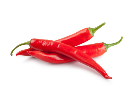 red chili or chilli cayenne pepper isolated on white background Standard-Bild