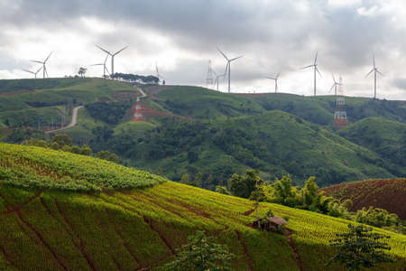 Landscape, Wind power turbines at Khao Kor, Phetchabun, Thailand