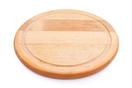 cutting board: empty round cutting board on white background