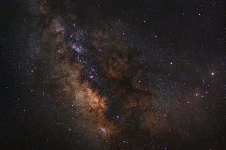 vulpecula: Close - up Milky way galaxy with stars and space dust in the universe, Long exposure photograph, with grain.
