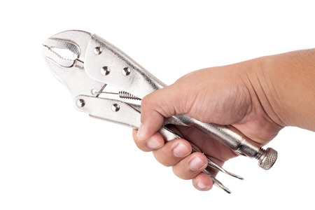 vice grip: hand holding locking grip pliers on white background