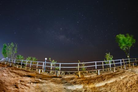 Milky way galaxy at Phutabberk Phetchabun in Thailand.Long exposure photograph.With grain Stock Photo