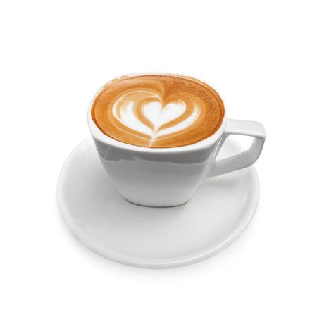 latte art coffee on white background