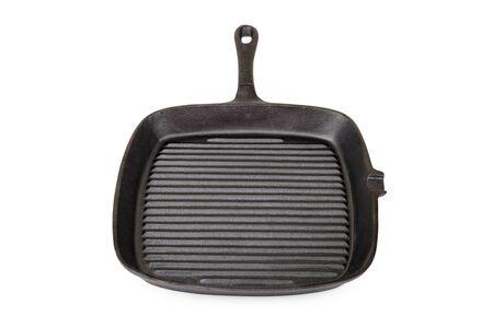 Empty grill iron pan isolated on white background Lizenzfreie Bilder