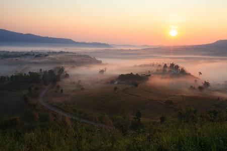 Fog in morning sunrise and road at Khao Takhian Ngo View Point at Khao-kho Phetchabun,Thailand