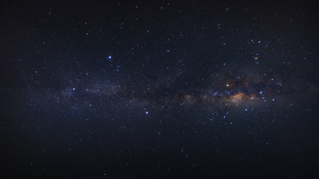 starry night: panorama clearly milky way galaxy at phitsanulok in thailand. Long exposure photograph.with grain