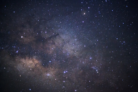 starry night: The center of the milky way galaxy,Long exposure photograph, with grain