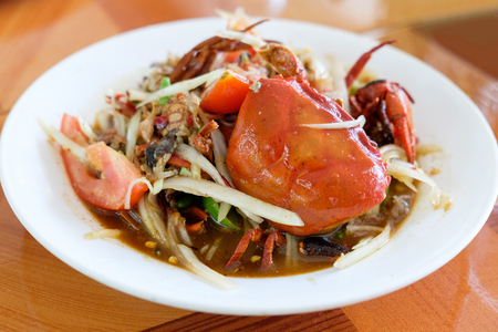 Somtum, papaya salad delicious food in thailand,Close-up Stock Photo