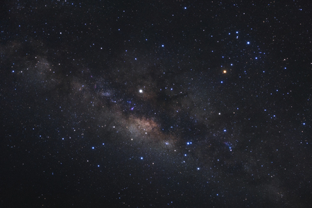 Close up milky way galaxy with stars and space dust in the universe, Long exposure photograph, with grain.