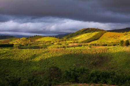koh kho khao: Beautiful mountain scenery sunset at Khao Kho in Phetchabun, Thailand Stock Photo