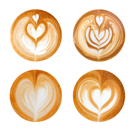 latte art heart shapes on white background