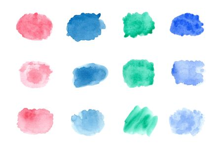 Abstract watercolor on white background.The color splashing on the paper.It is a hand drawn.