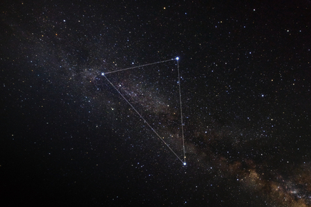 Summer triangle and milky way Фото со стока - 85857166