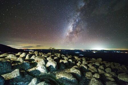Milky way galaxy with knob stone ground is name Lan Hin Pum viewpoint at Phu Hin Rong Kla National Park in Phitsanulok, Thailand