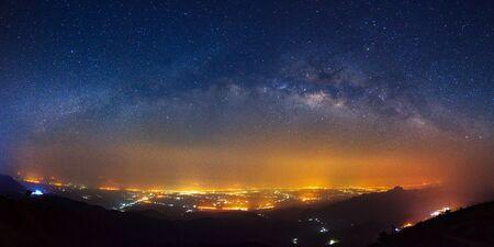 Panorama Milky way galaxy bridge as seen from phutabberk in thailand on a clear summer night.