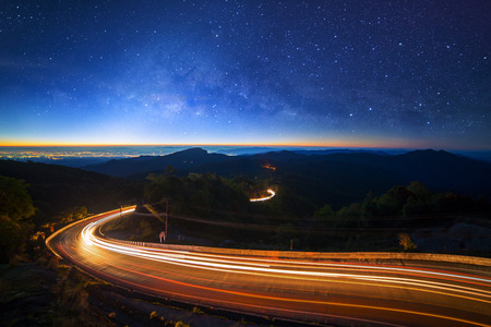 Milky way galaxy with stars and space dust in the universe at Doi inthanon Chiang mai, Thailand Stock Photo